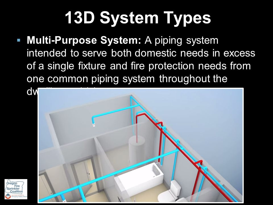 13D System Types  Multi-Purpose System: A piping system intended to serve both domestic needs in excess of a single fixture and fire protection needs from one common piping system throughout the dwelling unit(s).