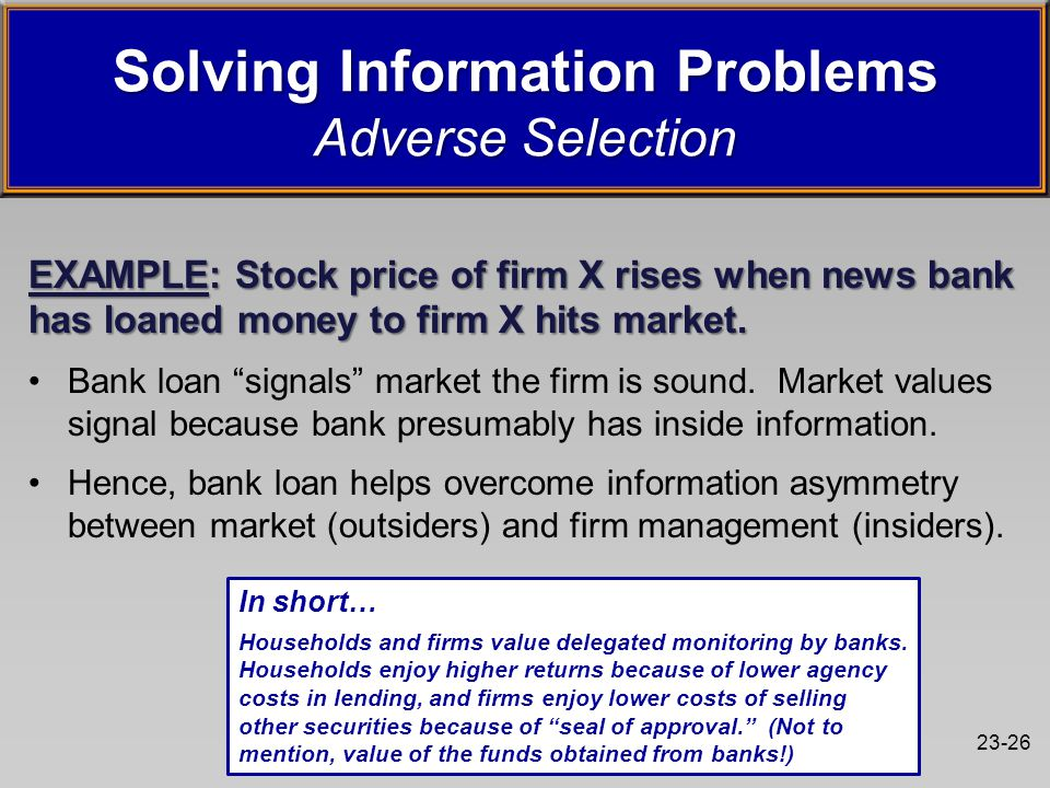 23-26 EXAMPLE: Stock price of firm X rises when news bank has loaned money to firm X hits market.