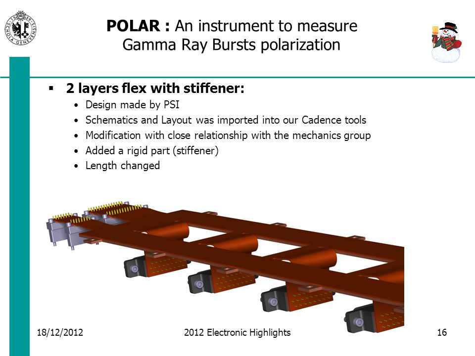 POLAR : An instrument to measure Gamma Ray Bursts polarization  2 layers flex with stiffener: Design made by PSI Schematics and Layout was imported into our Cadence tools Modification with close relationship with the mechanics group Added a rigid part (stiffener) Length changed 18/12/2012 2012 Electronic Highlights16