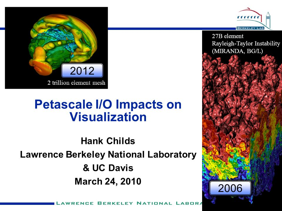 Petascale I/O Impacts on Visualization Hank Childs Lawrence Berkeley National Laboratory & UC Davis March 24, 2010 27B element Rayleigh-Taylor Instabi