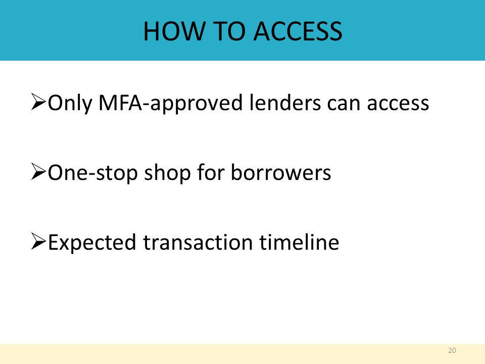 HOW TO ACCESS  Only MFA-approved lenders can access  One-stop shop for borrowers  Expected transaction timeline 20