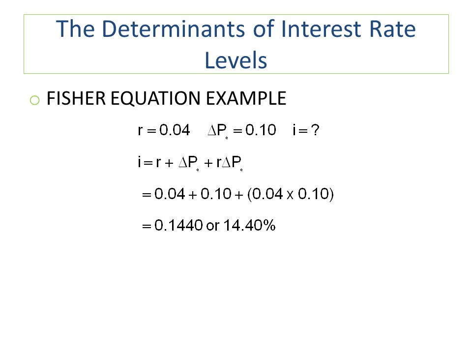 The Determinants of Interest Rate Levels o FISHER EQUATION EXAMPLE