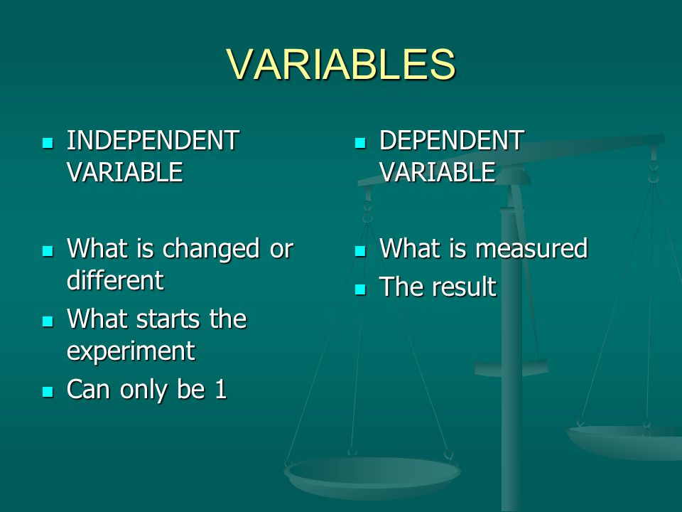 VARIABLES INDEPENDENT VARIABLE INDEPENDENT VARIABLE What is changed or different What is changed or different What starts the experiment What starts t