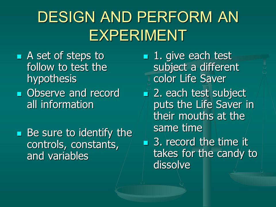 CONTROLS AND CONSTANTS CONTROLS CONTROLS The standard to which the outcome of a test is compared The standard to which the outcome of a test is compared What you measure against What you measure against CONSTANTS The things that remain the same