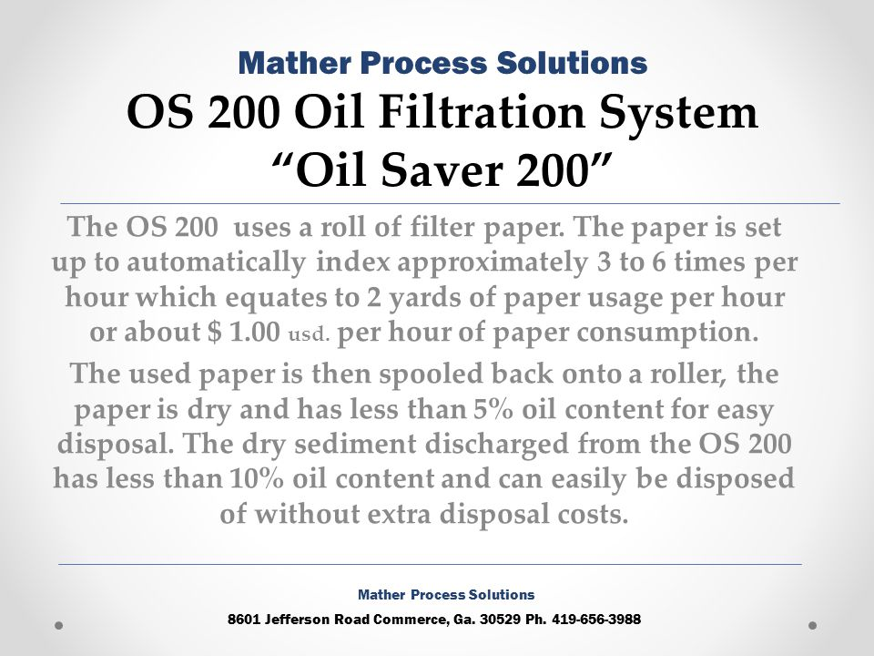 The OS 200 uses a roll of filter paper.