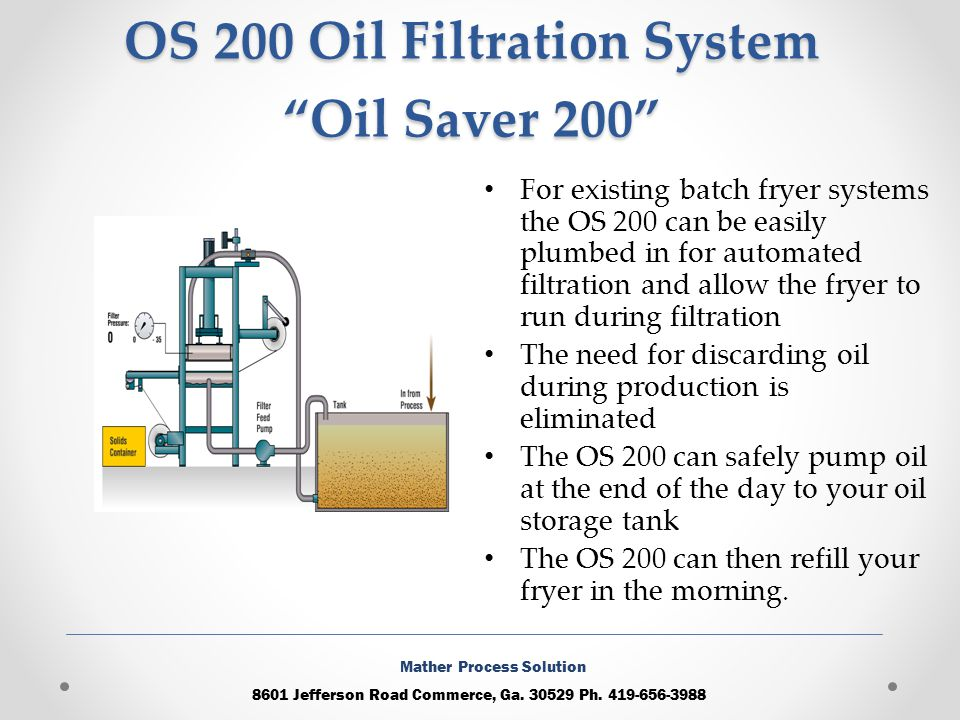 OS 200 Oil Filtration System Oil Saver 200 For existing batch fryer systems the OS 200 can be easily plumbed in for automated filtration and allow the fryer to run during filtration The need for discarding oil during production is eliminated The OS 200 can safely pump oil at the end of the day to your oil storage tank The OS 200 can then refill your fryer in the morning.