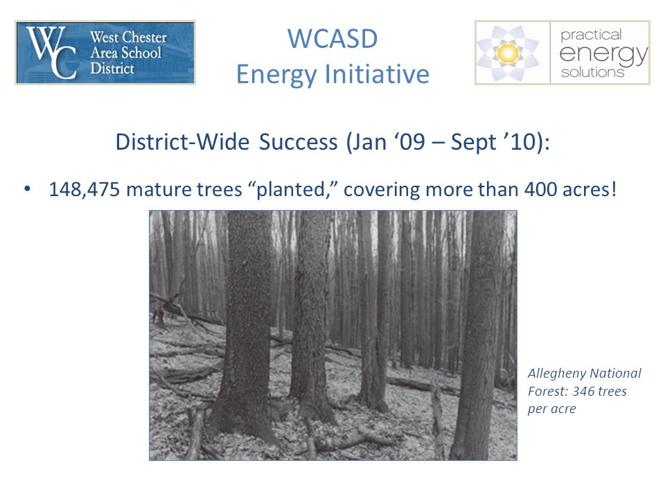 WCASD Energy Initiative District-Wide Success (Jan '09 – Sept '10): 148,475 mature trees planted, covering more than 400 acres.
