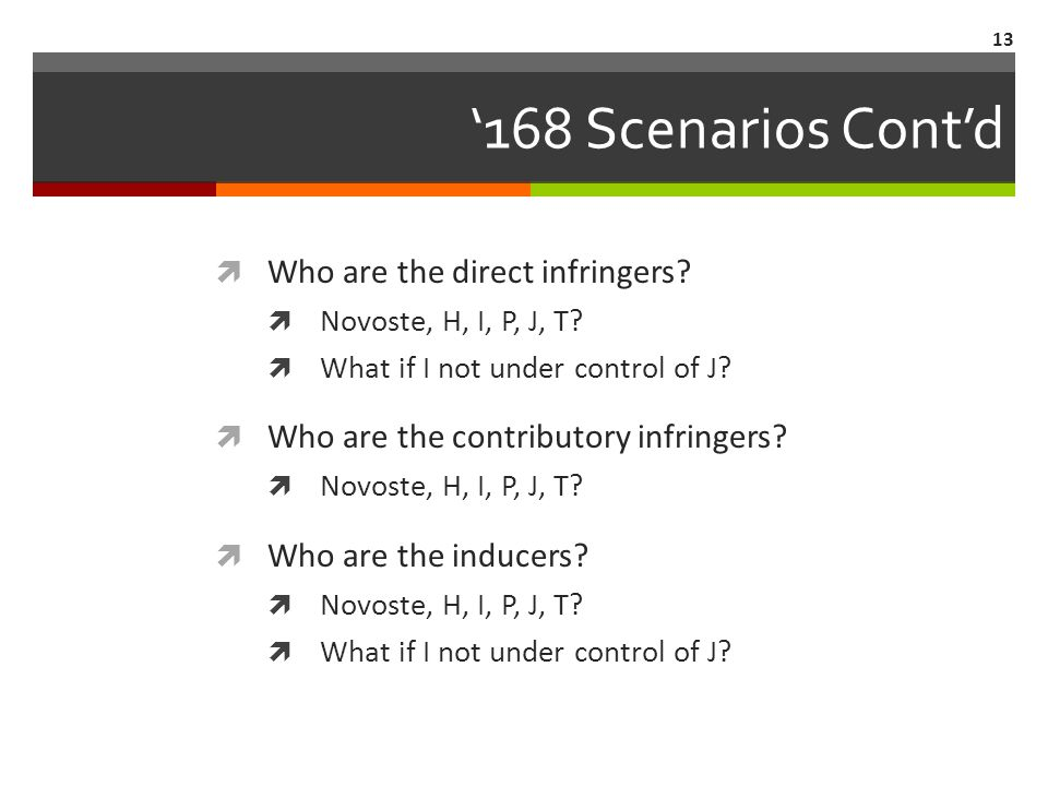 '168 Scenarios Cont'd  Who are the direct infringers.