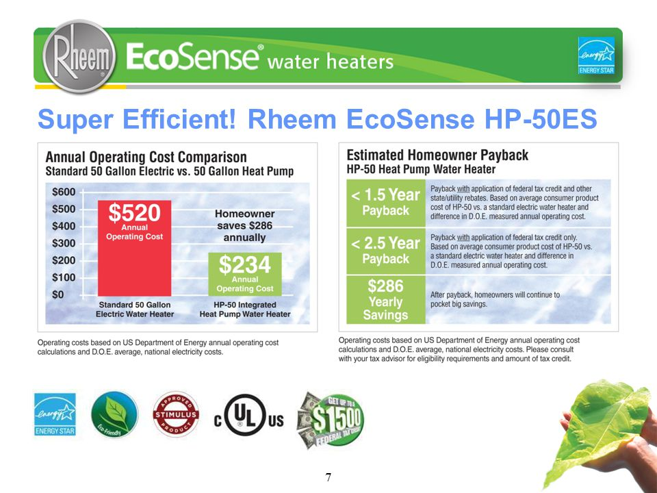7 Super Efficient! Rheem EcoSense HP-50ES
