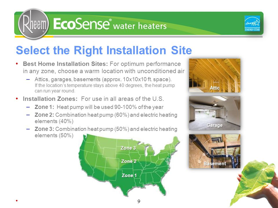 Select the Right Installation Site Best Home Installation Sites: For optimum performance in any zone, choose a warm location with unconditioned air – Attics, garages, basements (approx.