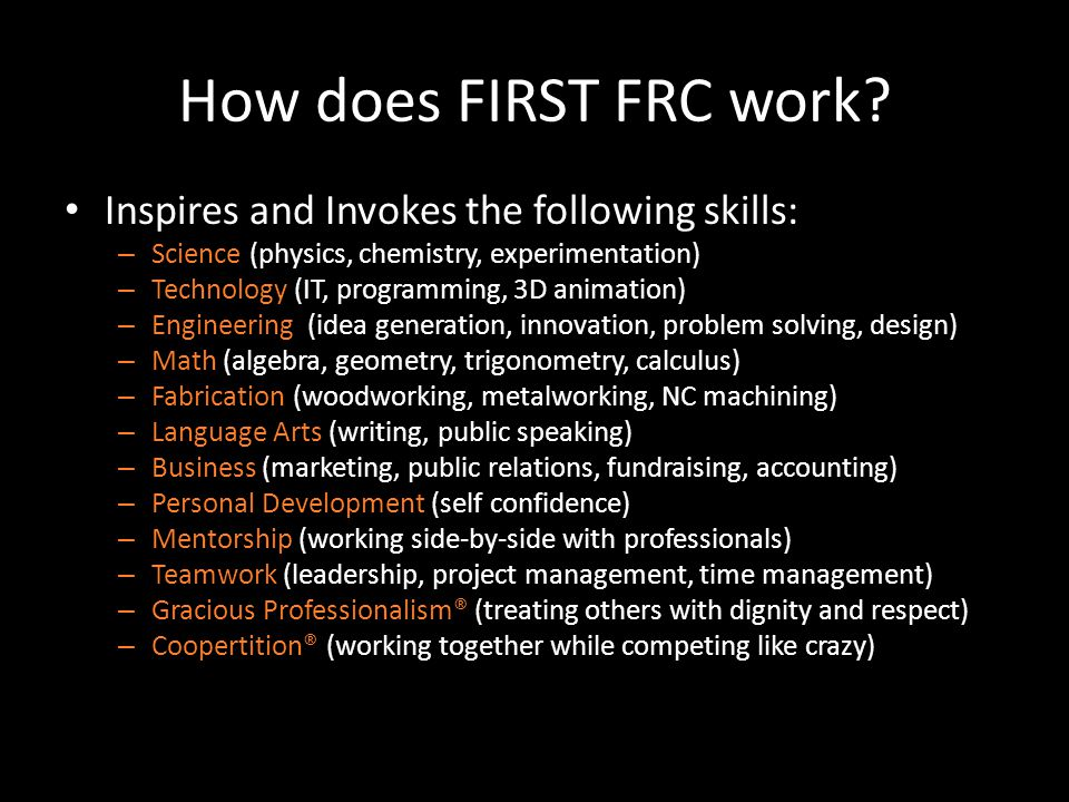 How does FIRST FRC work.