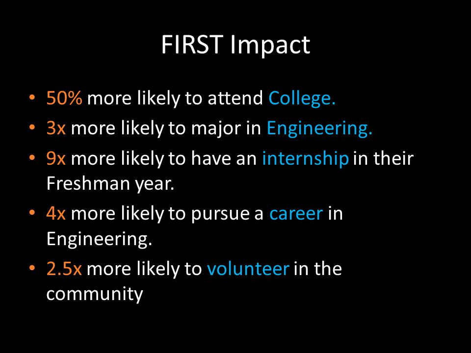 FIRST Impact 50% more likely to attend College. 3x more likely to major in Engineering.
