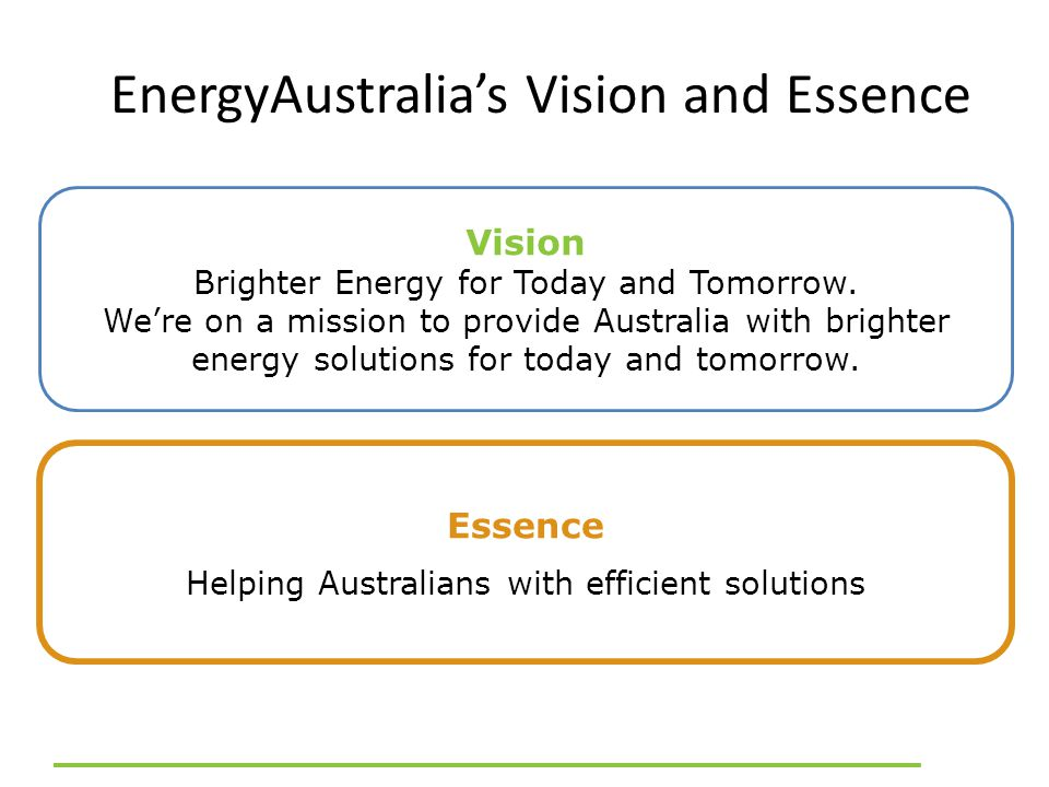 EnergyAustralia's Vision and Essence Vision Brighter Energy for Today and Tomorrow.