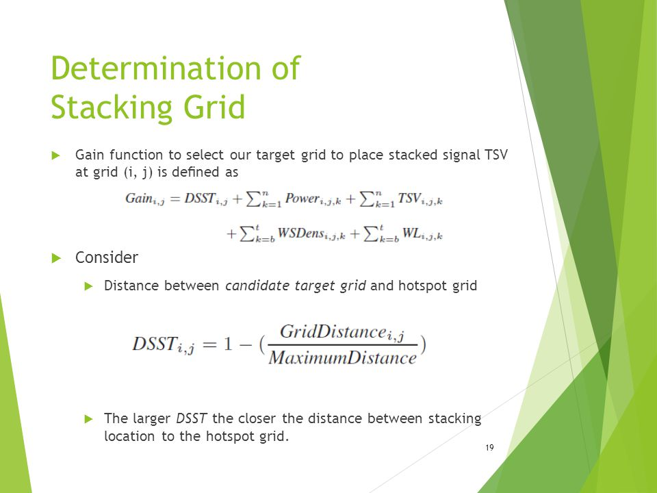 Determination of Stacking Grid  Gain function to select our target grid to place stacked signal TSV at grid (i, j) is defined as  Consider  Distance