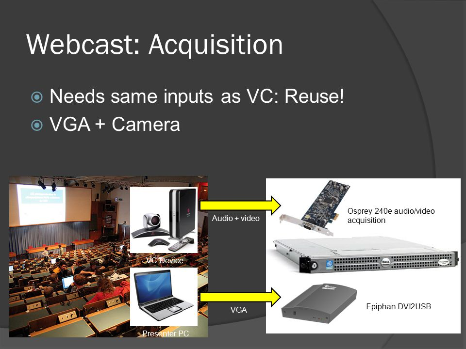 Webcast: Acquisition  Needs same inputs as VC: Reuse.