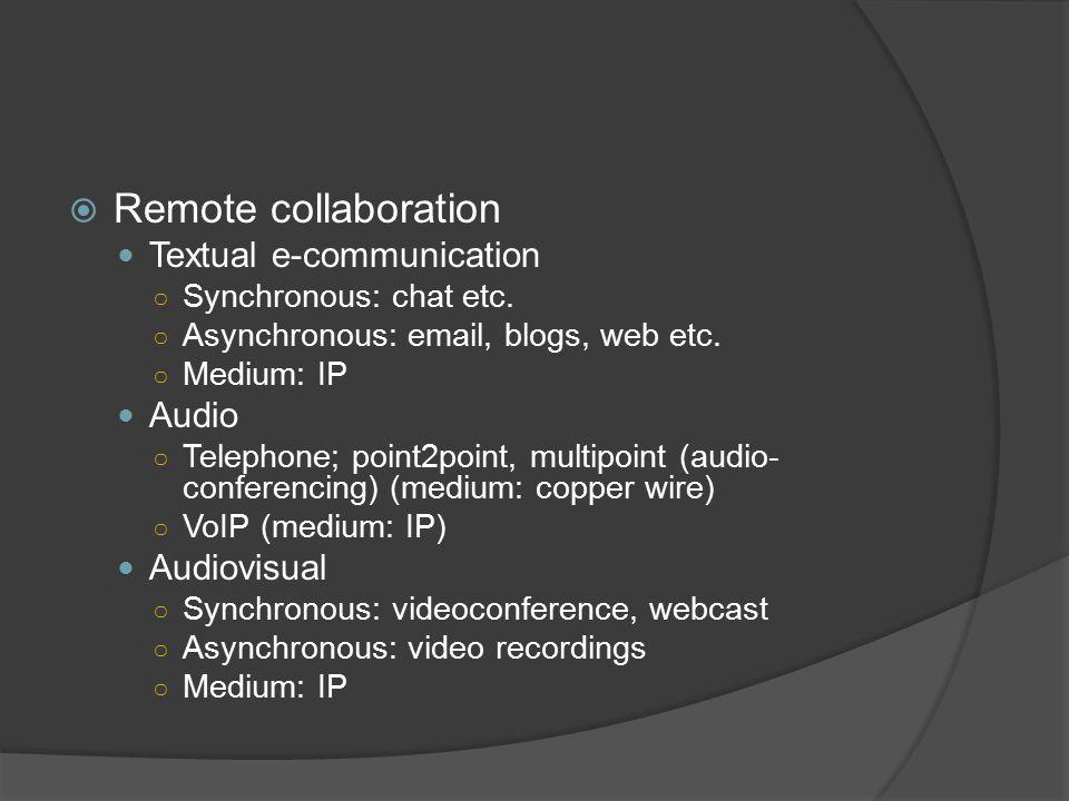  Remote collaboration Textual e-communication ○ Synchronous: chat etc.