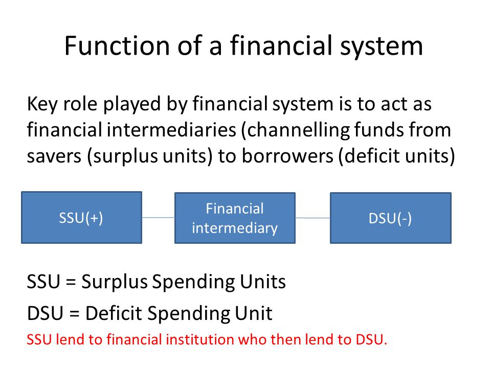 Function of a financial system Key role played by financial system is to act as financial intermediaries (channelling funds from savers (surplus units) to borrowers (deficit units) SSU = Surplus Spending Units DSU = Deficit Spending Unit SSU lend to financial institution who then lend to DSU.