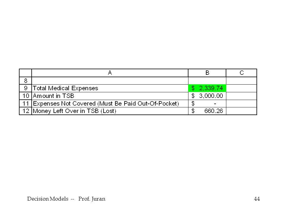 Decision Models -- Prof. Juran44