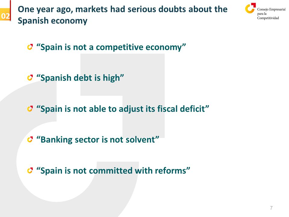 One year ago, markets had serious doubts about the Spanish economy 7 Spain is not a competitive economy Spanish debt is high Spain is not able to adjust its fiscal deficit Banking sector is not solvent Spain is not committed with reforms 02