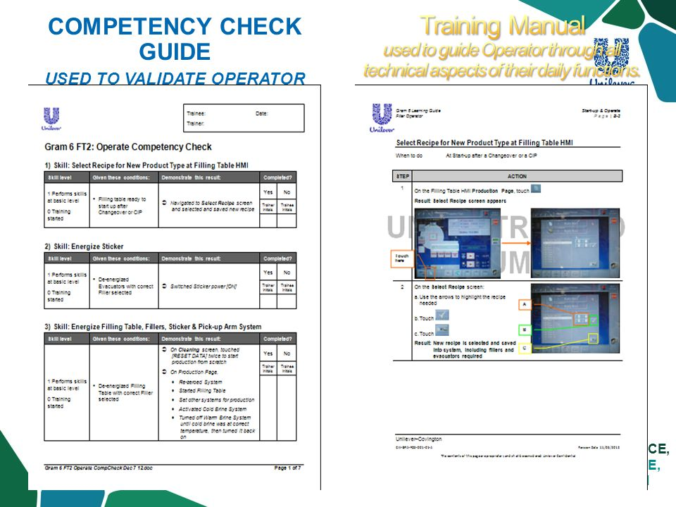 LIVE SUPERIOR SERVICE, DELIVER SUSTAINABLE, PROFITABLE GROWTH COMPETENCY CHECK GUIDE USED TO VALIDATE OPERATOR IS FULLY COMPETENT TO RUN THE TECHNICAL ASPECTS OF THE EQUIPMENT.