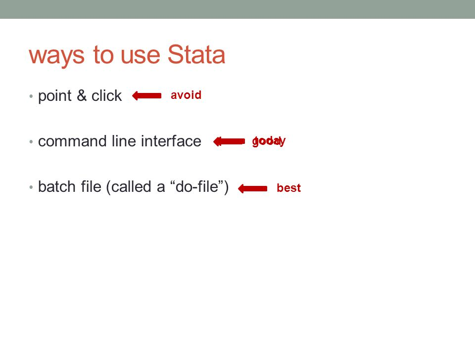 ways to use Stata point & click command line interface batch file (called a do-file ) avoid good best today