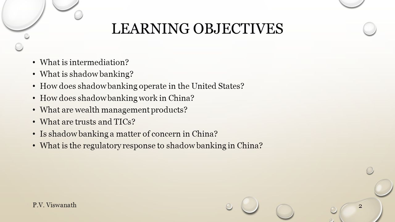 LEARNING OBJECTIVES What is intermediation? What is shadow banking? How does shadow banking operate in the United States? How does shadow banking work