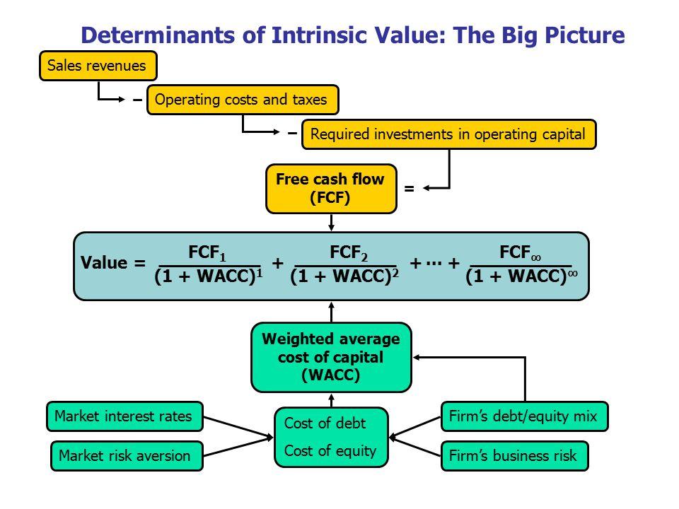 18 Value = + + + FCF 1 FCF 2 FCF ∞ (1 + WACC) 1 (1 + WACC) ∞ (1 + WACC) 2 Free cash flow (FCF) Market interest rates Firm's business riskMarket risk a