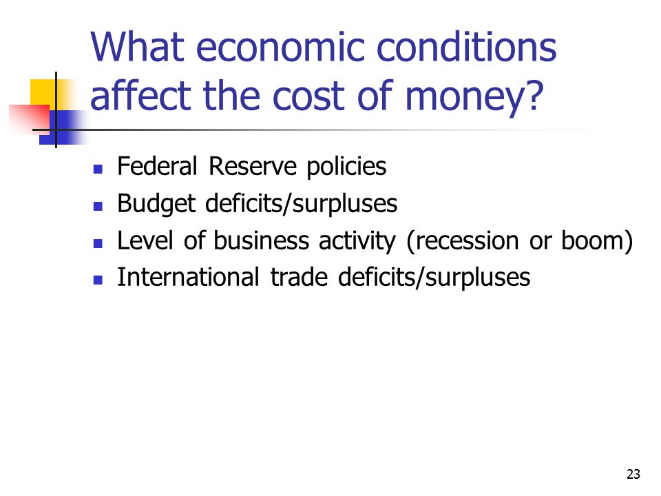23 What economic conditions affect the cost of money? Federal Reserve policies Budget deficits/surpluses Level of business activity (recession or boom