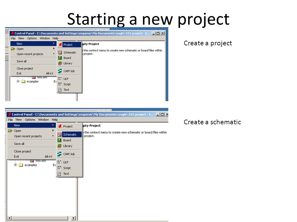 Starting a new project Create a project Create a schematic