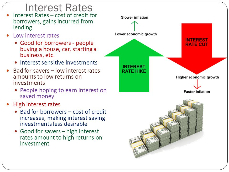 Interest Rates Interest Rates – cost of credit for borrowers, gains incurred from lending Low interest rates Good for borrowers - people buying a hous