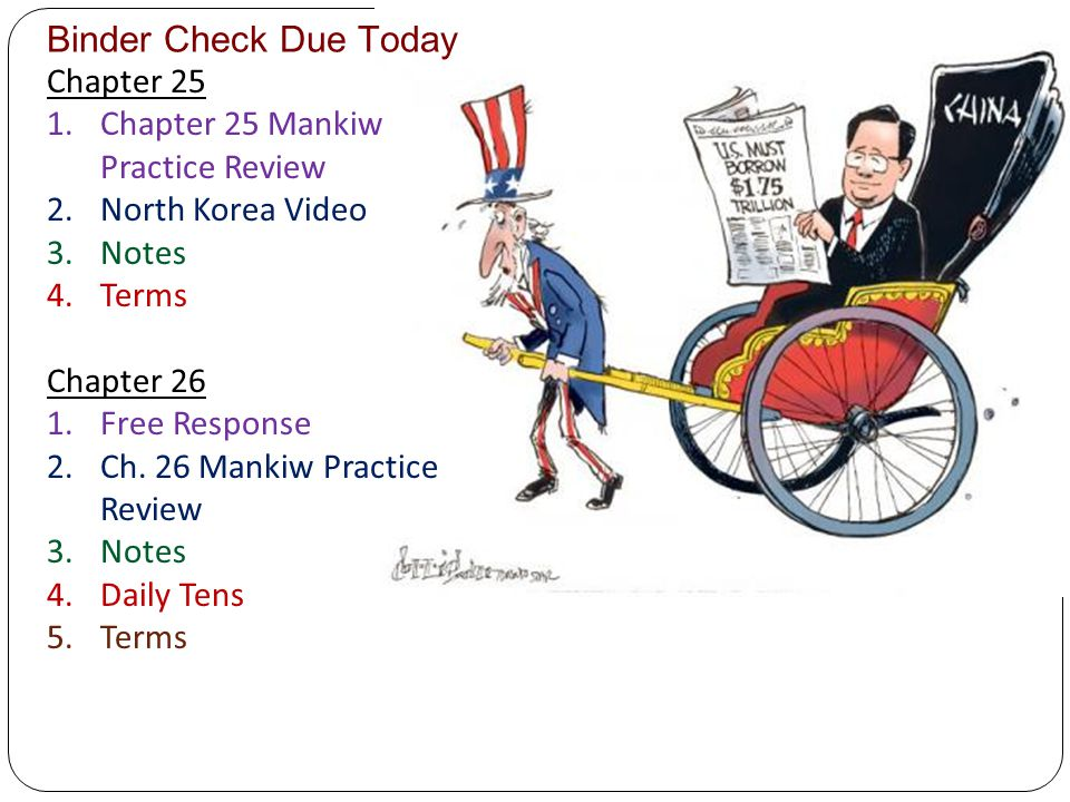 Binder Check Due Today Chapter 25 1.Chapter 25 Mankiw Practice Review 2.North Korea Video 3.Notes 4.Terms Chapter 26 1.Free Response 2.Ch. 26 Mankiw P