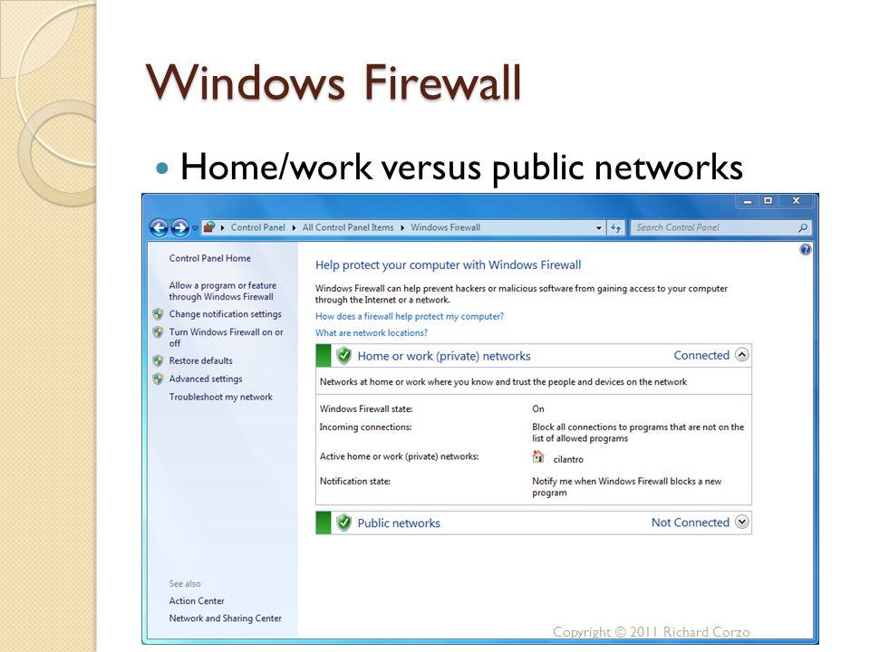 Windows Firewall Home/work versus public networks Copyright © 2011 Richard Corzo