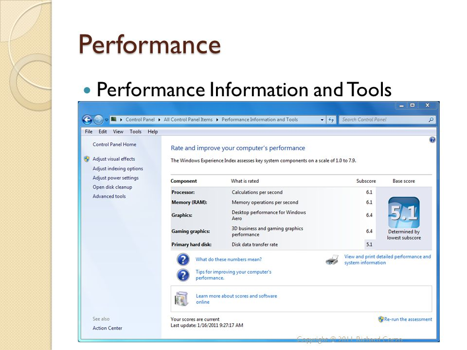 Performance Performance Information and Tools Copyright © 2011 Richard Corzo