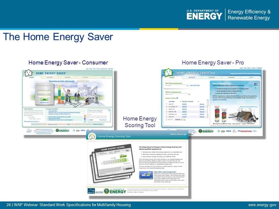 24 | WAP Webinar Standard Work Specifications for Multifamily Housingeere.energy.gov The Home Energy Saver Web-based Energy Audit Tools & Services Home Energy Saver - Consumer Home Energy Scoring Tool Home Energy Saver - Pro