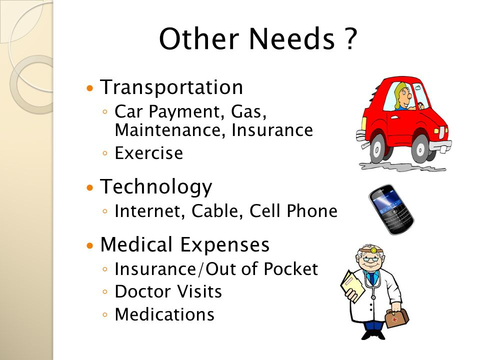 Transportation ◦ Car Payment, Gas, Maintenance, Insurance ◦ Exercise Technology ◦ Internet, Cable, Cell Phone Medical Expenses ◦ Insurance/Out of Pocket ◦ Doctor Visits ◦ Medications Other Needs ?