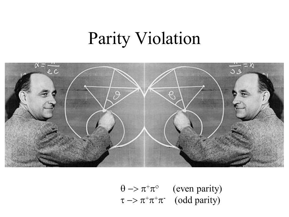 Parity Violation      even parity       -  odd parity 