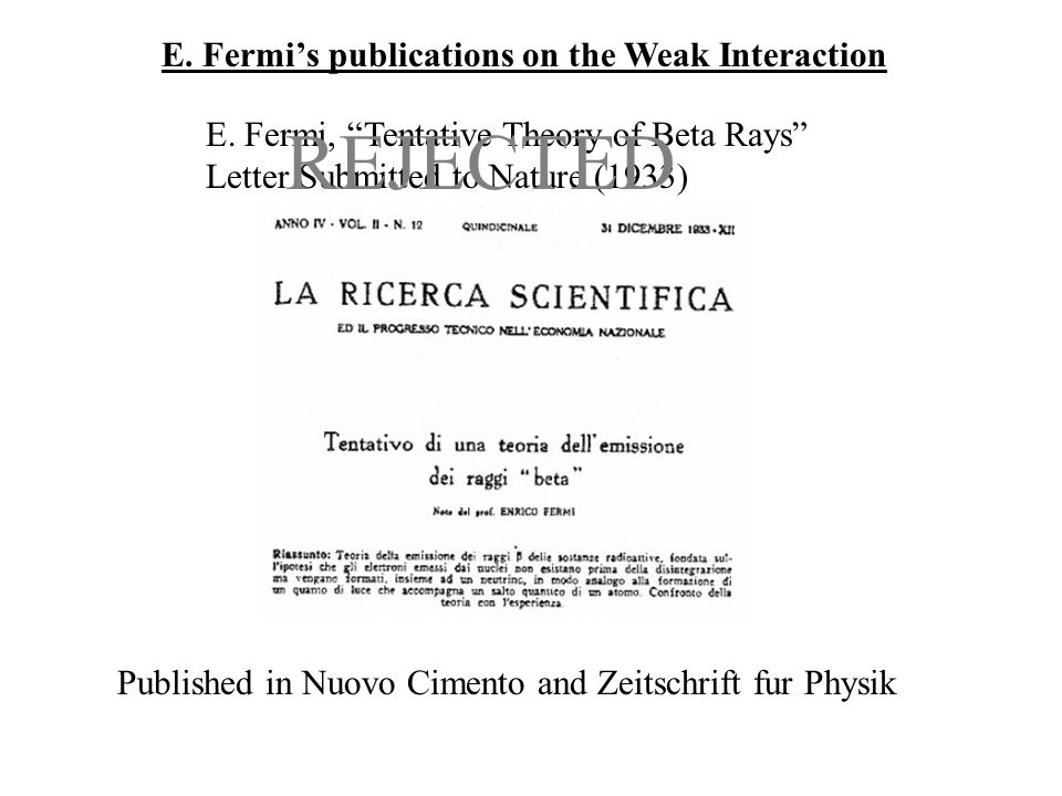 "E. Fermi's publications on the Weak Interaction E. Fermi, ""Tentative Theory of Beta Rays"" Letter Submitted to Nature (1933) REJECTED Published in Nuov"