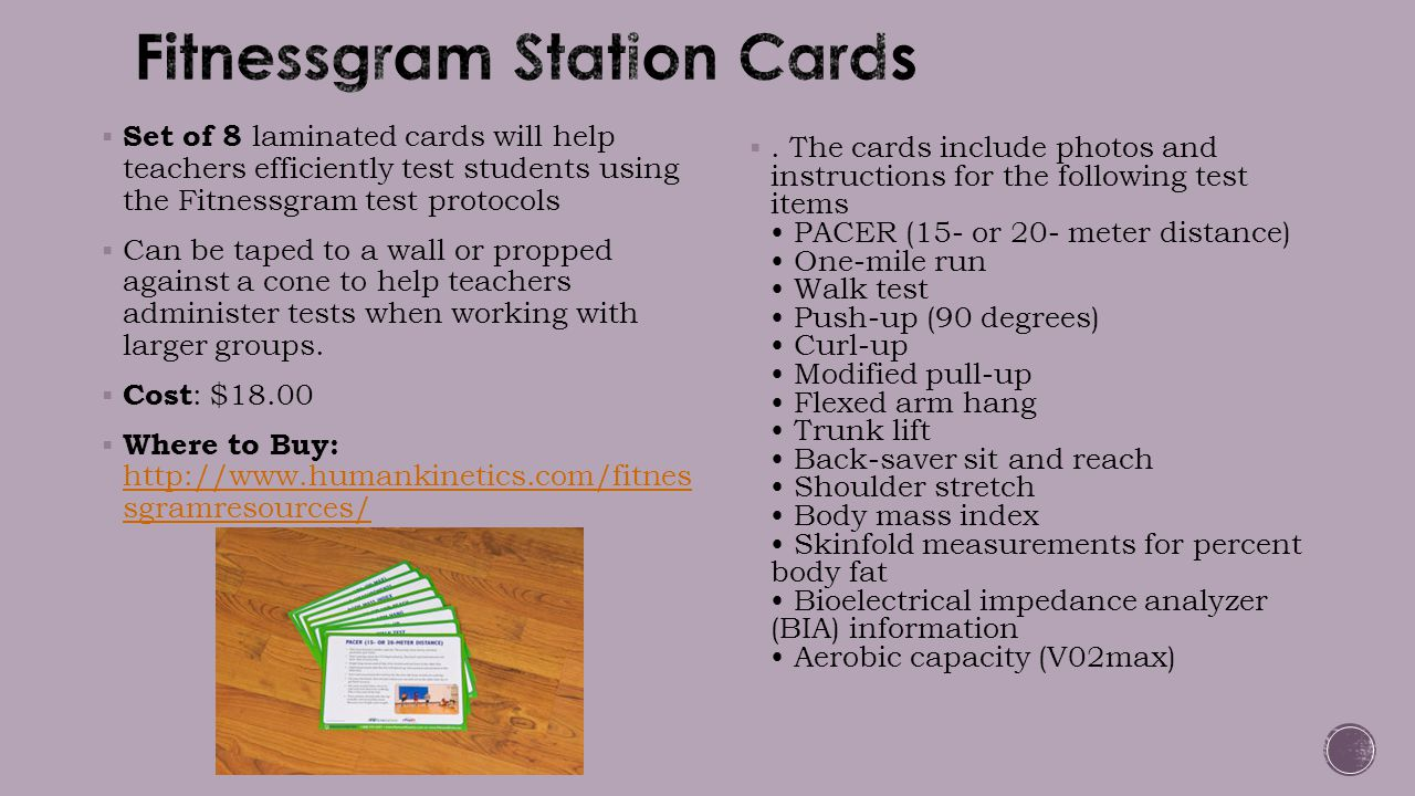  Set of 8 laminated cards will help teachers efficiently test students using the Fitnessgram test protocols  Can be taped to a wall or propped again