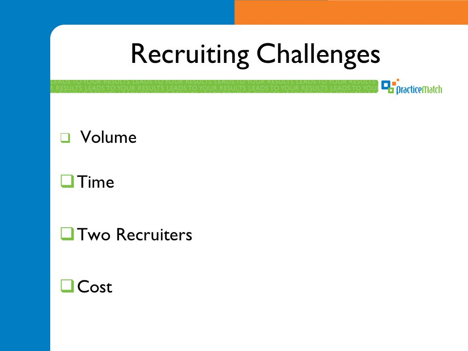 Recruiting Challenges  Volume  Time  Two Recruiters  Cost