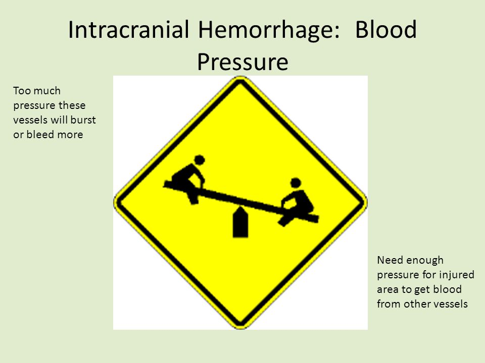 Intracranial Hemorrhage: Blood Pressure Need enough pressure for injured area to get blood from other vessels Too much pressure these vessels will bur