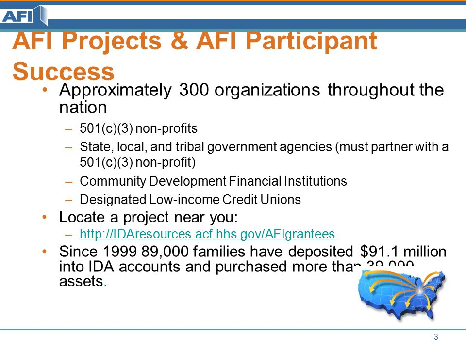 34 AFI Request for Proposals Funding Opportunity Announcement: –http://www.acf.hhs.gov/grants/open/foa/view/HHS-2014-ACF- OCS-EI-0774http://www.acf.hhs.gov/grants/open/foa/view/HHS-2014-ACF- OCS-EI-0774 $10,000 to $1,000,000 per project period Due dates: –FY 2015: 10/27/2014 and 04/20/2015 –FY 2016: 10/19/2015 and 04/18/2016 Compare new FOA to previous: An Introduction to the 2014 AFI FOA recording at: www.IDAresources.acf.hhs.gov/Apply www.IDAresources.acf.hhs.gov/Apply