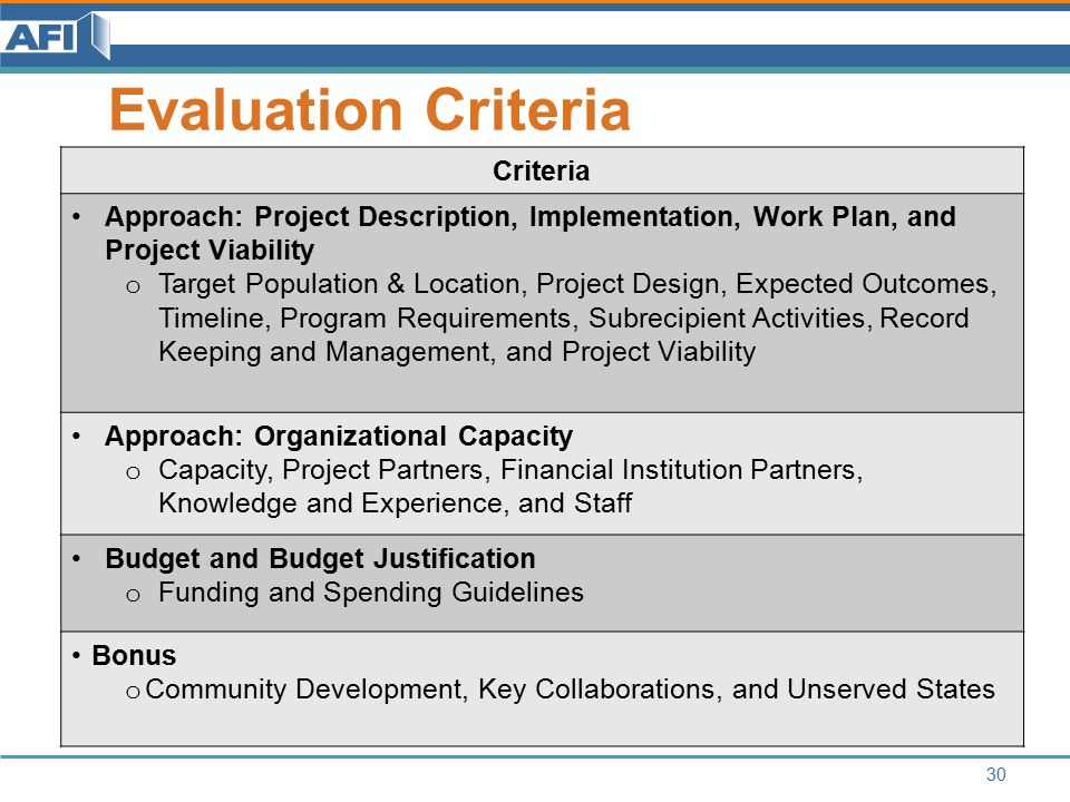 Evaluation Criteria 30 Criteria Approach: Project Description, Implementation, Work Plan, and Project Viability o Target Population & Location, Project Design, Expected Outcomes, Timeline, Program Requirements, Subrecipient Activities, Record Keeping and Management, and Project Viability Approach: Organizational Capacity o Capacity, Project Partners, Financial Institution Partners, Knowledge and Experience, and Staff Budget and Budget Justification o Funding and Spending Guidelines Bonus o Community Development, Key Collaborations, and Unserved States