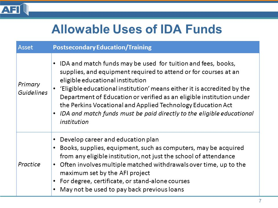 Allowable Uses of IDA Funds 8 AssetSmall Business Primary Guidelines May use match funds for any business expense included in the approved business plan, such as capital, plant, equipment, working capital, and inventory Must have business plan approved by financial institution, microenterprise development organization, or nonprofit loan fund having demonstrated fiduciary integrity and that includes description of services or goods to be sold, marketing plan, and projected financial statements Business must be legal IDA and match funds must be paid into the business capitalization account or to vendors Practice Often involves multiple matched withdrawals over time, up to the maximum set by the AFI project May not be used to pay back previous loans
