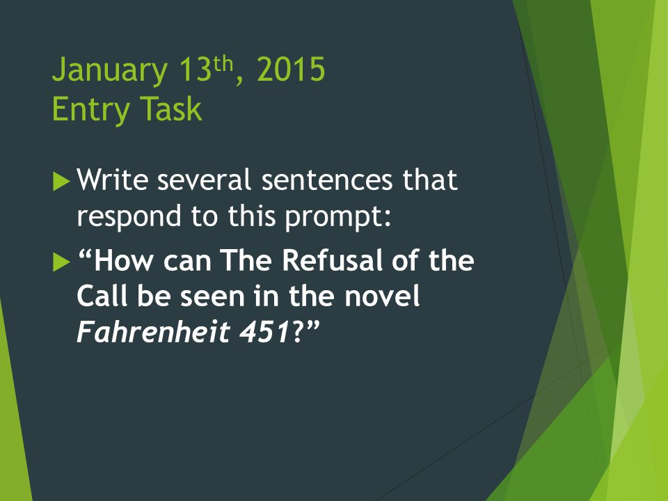 January 13 th, 2015 Entry Task  Write several sentences that respond to this prompt:  How can The Refusal of the Call be seen in the novel Fahrenheit 451?