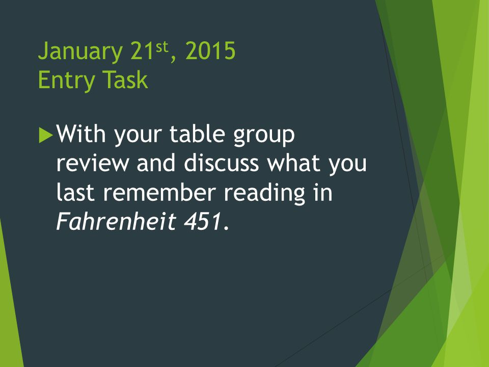 January 21 st, 2015 Entry Task  With your table group review and discuss what you last remember reading in Fahrenheit 451.