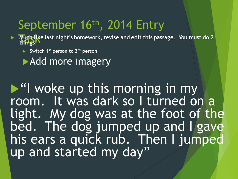 October 20 th, 2014 Entry Task  Set up you journals for a new week and label this page, Entry Tasks 10/20- 10/24  Then, we will return to an essential question of this unit.