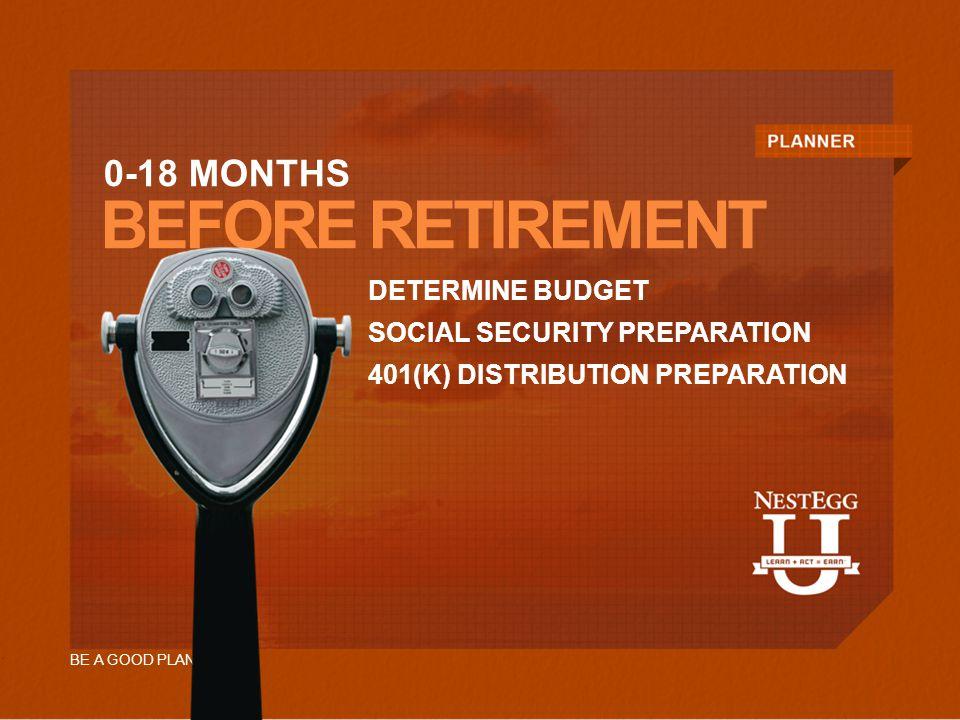 BEFORE RETIREMENT DETERMINE BUDGET SOCIAL SECURITY PREPARATION 401(K) DISTRIBUTION PREPARATION 0-18 MONTHS