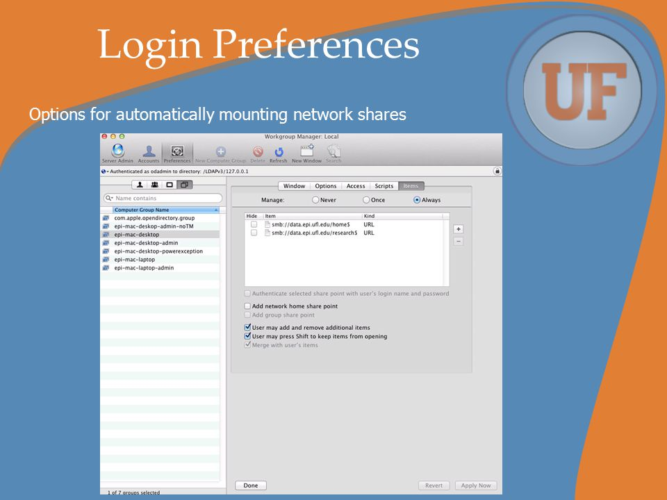 Login Preferences Options for automatically mounting network shares