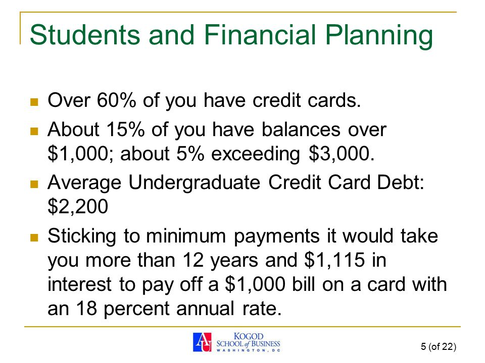 Students and Financial Planning Over 60% of you have credit cards. About 15% of you have balances over $1,000; about 5% exceeding $3,000. Average Unde