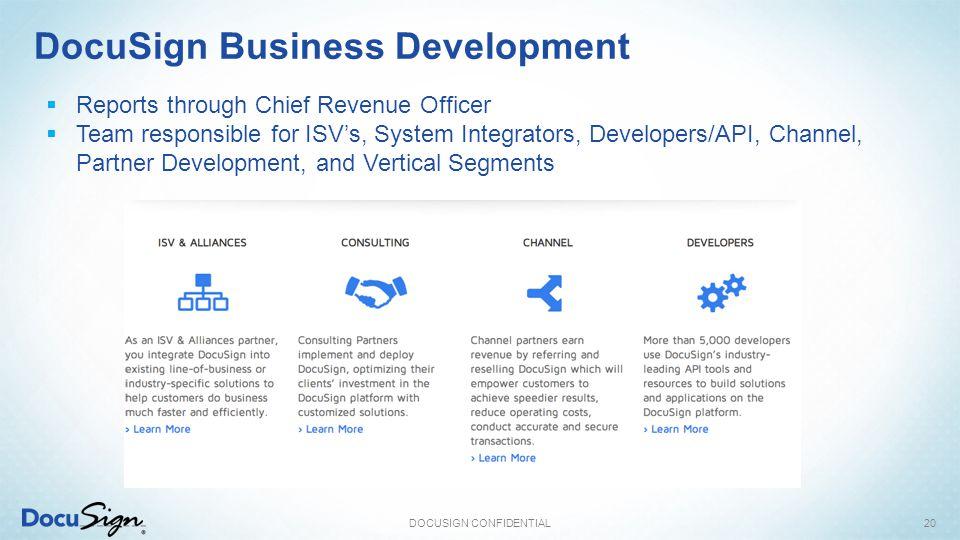 DocuSign Business Development DOCUSIGN CONFIDENTIAL20  Reports through Chief Revenue Officer  Team responsible for ISV's, System Integrators, Developers/API, Channel, Partner Development, and Vertical Segments
